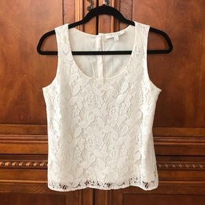 Off white lace tank top, size small